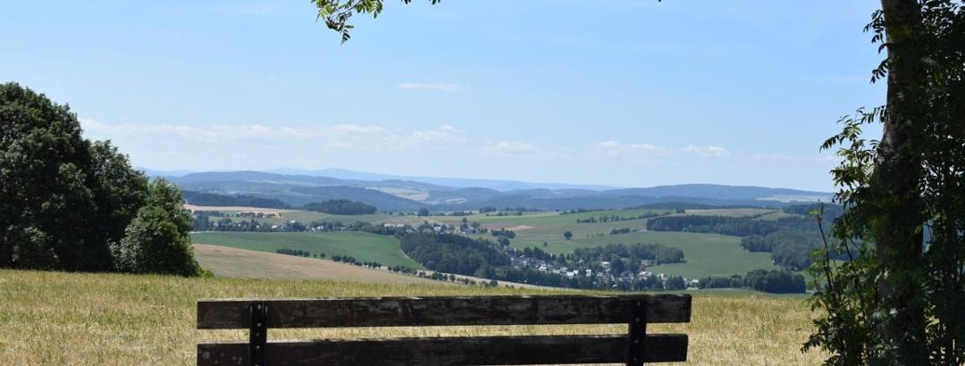 Výhled na hřeben Krušných hor z návrší Dittersdorfer Höhe