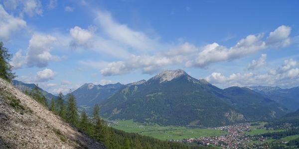 Morgendlicher Rückblick über Ehrwalder hinweg zu Daniel und Upsspitze
