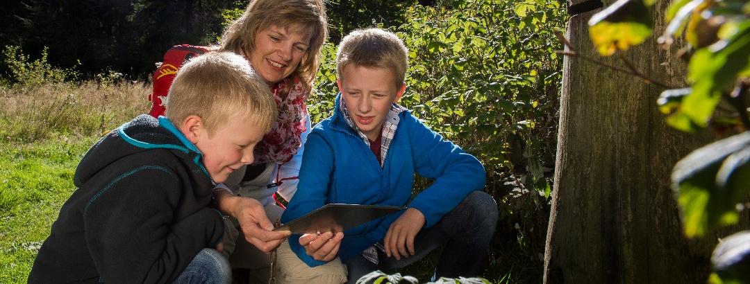 Familie liest ein Buch am Märchenwanderweg Kleiner Rothaar