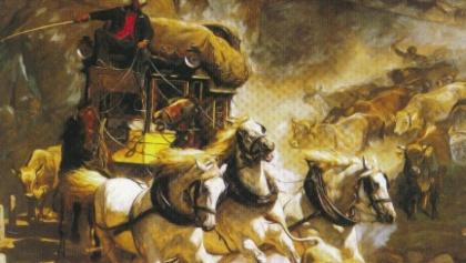 Gemälde von 1873 von Rudolf Koller. Die Gotthard Reisepost im Val di Tremola.