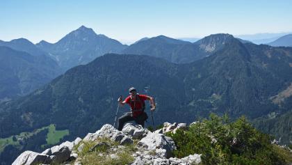 Gaining the summit (W) ridge