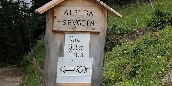 Abzweigung zur Alp da Sevgein bei Punkt 1786. Hier beginnt der trailige Teil der Strecke