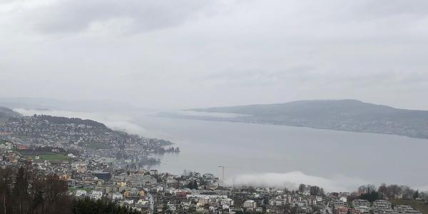 Zürichsee mit Meilen und Pfannenstiel am entfernten Ufer