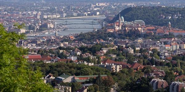 A kilátás az Árpád-kilátóból a Duna felé