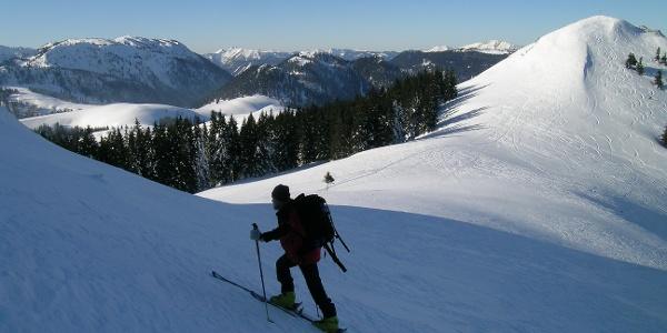 Gipfelanstieg auf den Großen Königskogel: rechts der Kleine Königskogel, dahinter der Ötscher. Links die Tonion