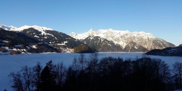 Panoramablick-Nebelmeer über Schruns
