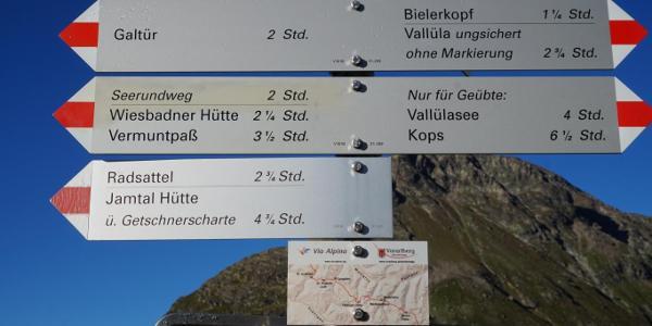 First sign near Silvretta Stausee