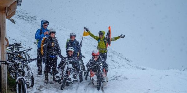 der Anstieg nach der Weidenerhütte im Schnee