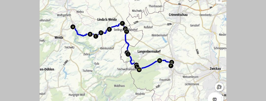 alte Bahnlinie Wünschendorf - Werdau