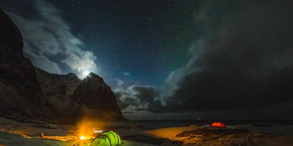 Camping on Kvalvika beach