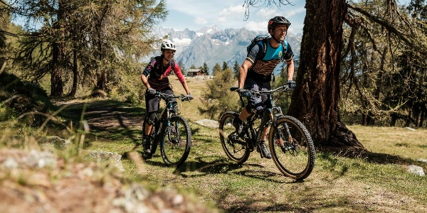 Mountain bikers in the Moosalp region