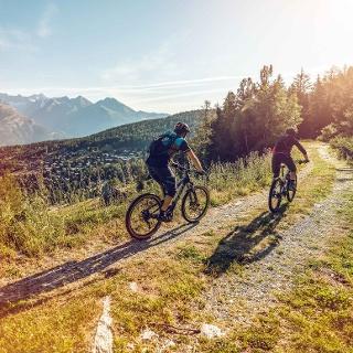 Mountain bikers above Bürchen