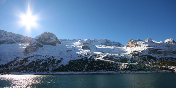 Ski resort Passo Fedaia - Marmolada, lake Fedaia and Marmolada