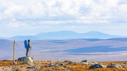 Hetta-Pallas vaellusreitillä Ounastunturien Pyhäkerolta aukeaa hieno näköala Pallastuntureille