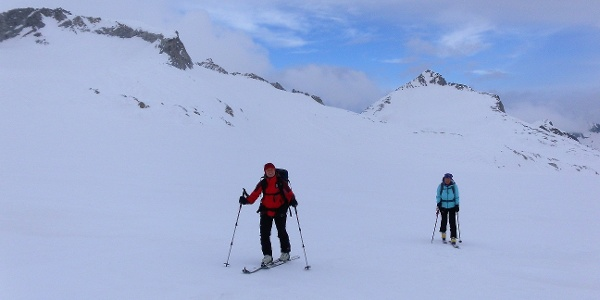 am Lobbiagletscher unter Cresta della Croce und Lobbia Alta