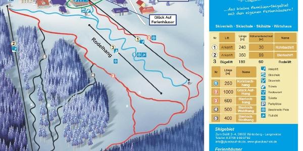 Pistenplan Glück-Auf Skigebiet Langewiese