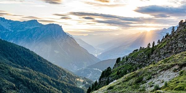 Sonnenuntergang im Gantertal bei den Bortelhütten