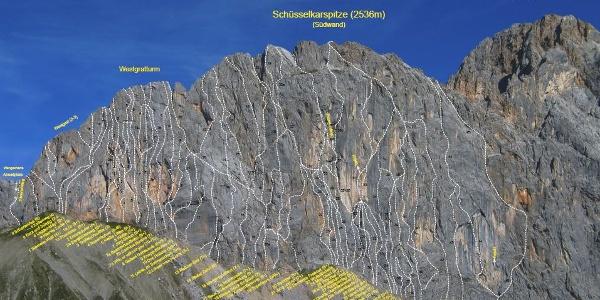 Übericht aller Routen an der Schüsselkar-Südwand