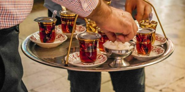 Traditional small cups of Turkish black tea.
