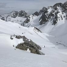 Halbe Höhe zum Gipfel, Blick zurück