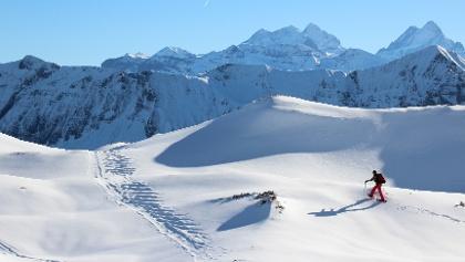 Schneeschuhlaufen oberhalb Chlus mit Aussicht auf Tannhorn und Berner Alpen