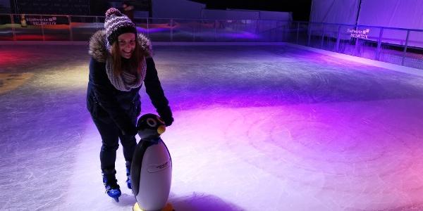 Mit dem Pinguin auf der Eisbahn Oelsnitz