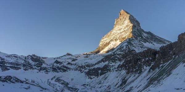 Das Matterhorn im Morgenlicht beim Zustieg zur Hörnlihütte