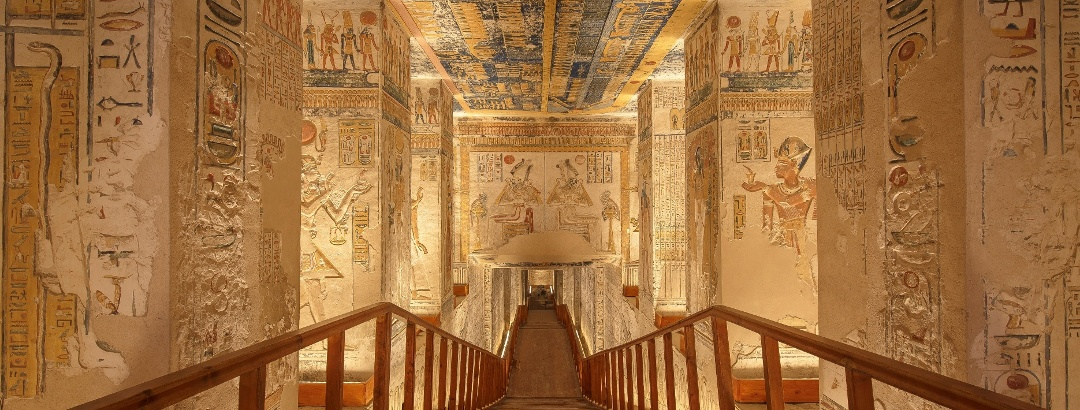 Egyptian tomb with wall paintings