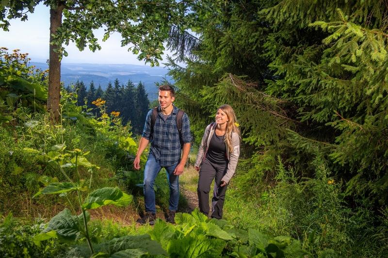 Wandelaars beklimmen de Tiefenrother Höhe