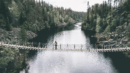 Breathtaking view from the hanging bridge crossing Julma-Ölkky canyon