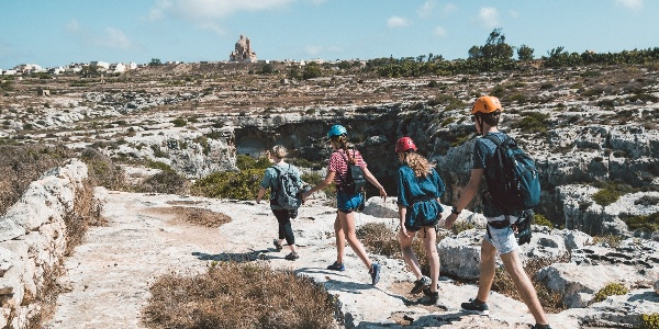 Climbers getting to climbing spot in Gozo Malta