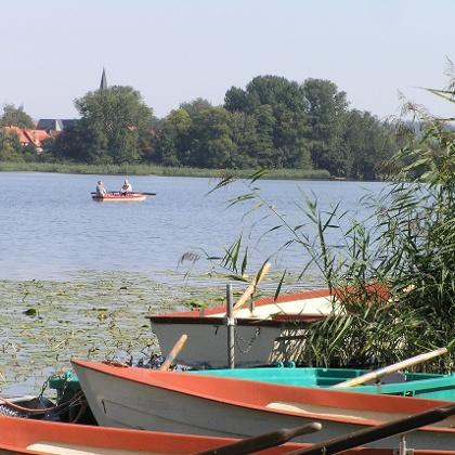 Ruderboote auf dem Seeburger See