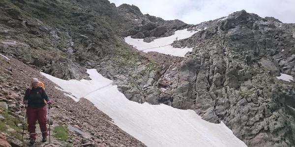 Die zwei Schneefelder nach dem Simmingjöchl (Juli 2020) liegen hinter uns