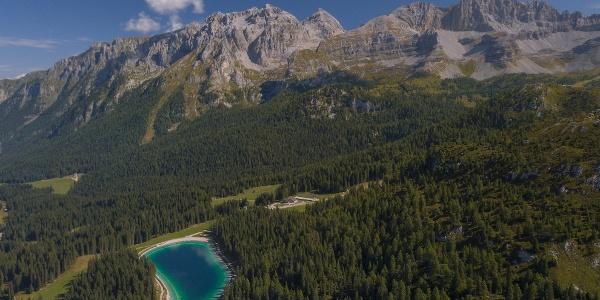 Veduta aerea del bacino artificiale dei Montagnoli