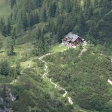 Hütte vom Gipfel des Hohen Kalmberg