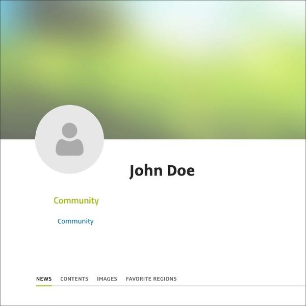 Esta é a exibição de um perfil público, quando apenas o nome foi inserido