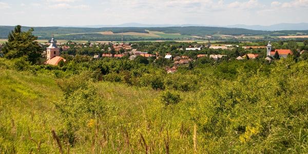 Gönc két temploma és köztük a város magja a Hernád völgyének peremén