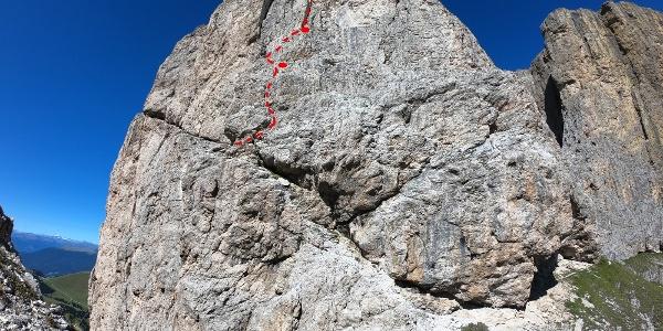 Routenverlauf Glückverschneidung, Blick vom Ersten Sellaturm