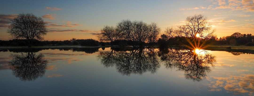 Sunset over Janesmoor Pond in the New Forest, Hampshire