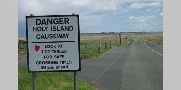 Holy Island causeway safe crossing
