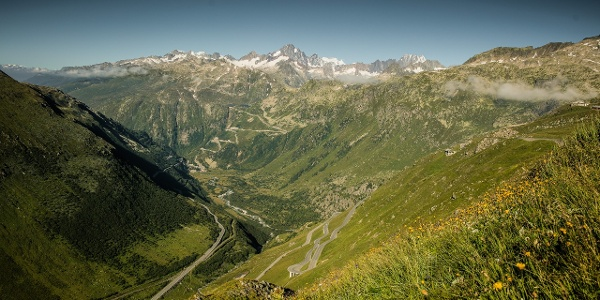 Aussicht vom Furkapass Richtung Gletsch