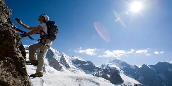Am Klettersteig Piz Trovat 1.