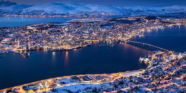 View of Tromsø city during the polar night.