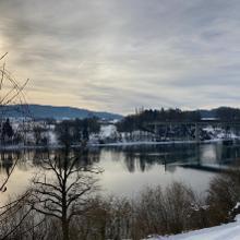 Rheinbrücke Hemishofen im Winter