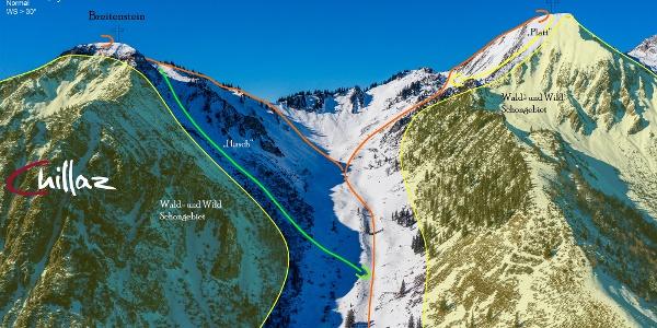 Geigelstein und Breitenstein - Übersichtbild Skitour - Topo