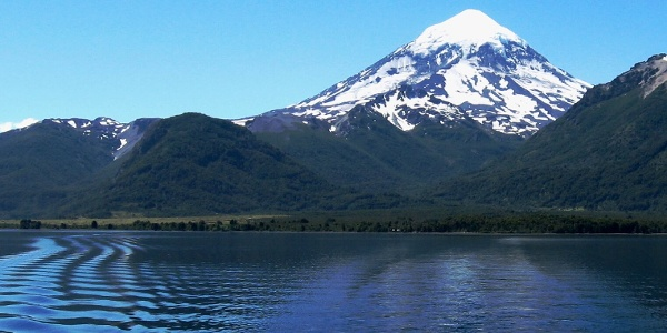 Huechulafquen Lake, in the background the Lanín Volcano