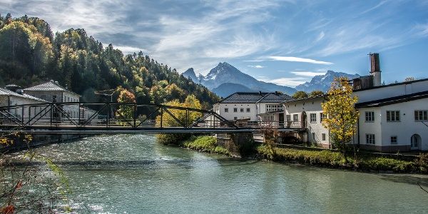 Die Berchtesgadener Ache am Salzbergwerk Berchtesgaden