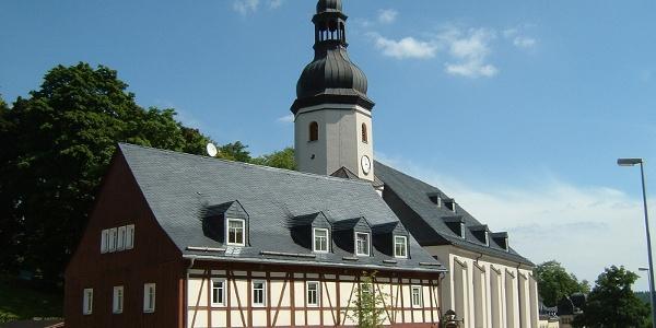 Schönheide im Erzgebirge in Sachsen, Germany - Kirche von 1773 und Bürstenmuseum