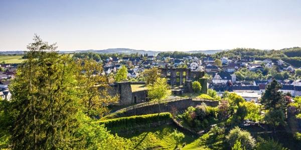 Burgruine mit Blick auf Ulmen