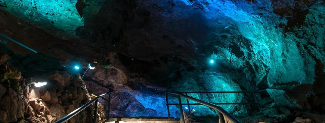 Illumination Lagune in der Iberger Tropfsteinhöhle im HöhlenErlebnisZentrum